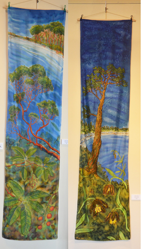 Vorobik silk wall hangings, madrone, doug fir